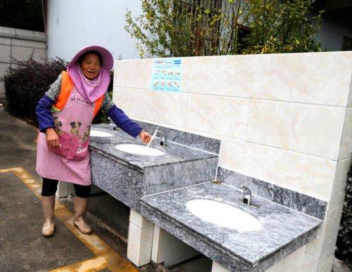 宣威宝山:新建公共洗手台 倡导健康